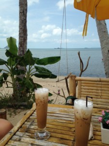 Iced coffee on the beach